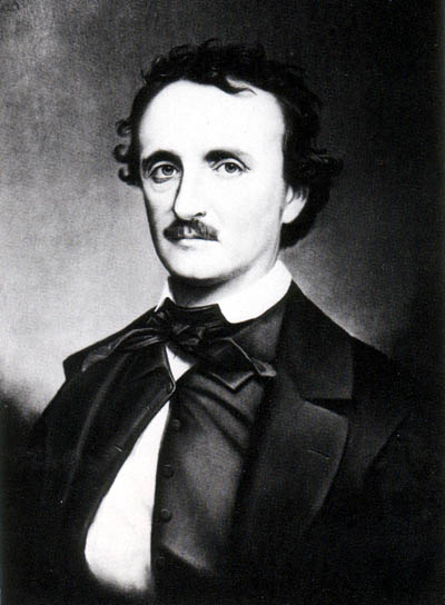 A copy photograph of the portrait of Edgar Allan Poe, painted in the late 1860s by Oscar Halling.