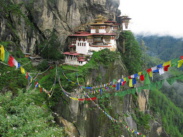 Taktsang Palphug Monastery, popularly known as Tiger's Nest, is a sacred place of worship for Buddhists. The 17th century structure is perched in the cliffside of Bhutan.