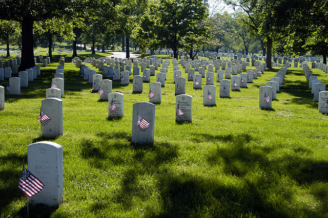 "Each marker in Section 60 of Arlington National Cemetery, which holds veterans from Operation Enduring Freedom and Operation Iraqi Freedom, has a flag placed in front of it during the ""Flags In"" Memorial Day tradition, May 21, 2009."