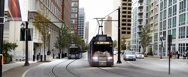 An artist's rendering of a streetcar in Crystal City, Arlington, Virginia.