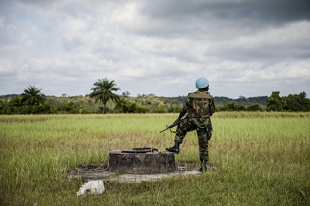 A United Nations peacekeeper on duty in Liberia.