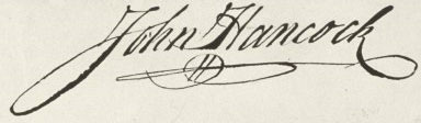John Hancock's signature as it appears on the engrossed copy of the Declaration of Independence.