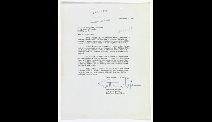 Letter from Katherine Hepburn re Ring Lardner 9-1-1950