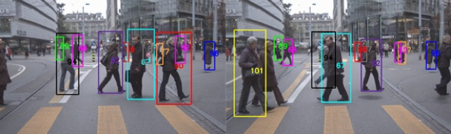 Frames from a moving camera recorded by the Swiss Federal Institute of Technology in Zurich, Switzerland, show how intelligent camera technology distinguishes among people by giving each person a unique color and number, then tracking  them.