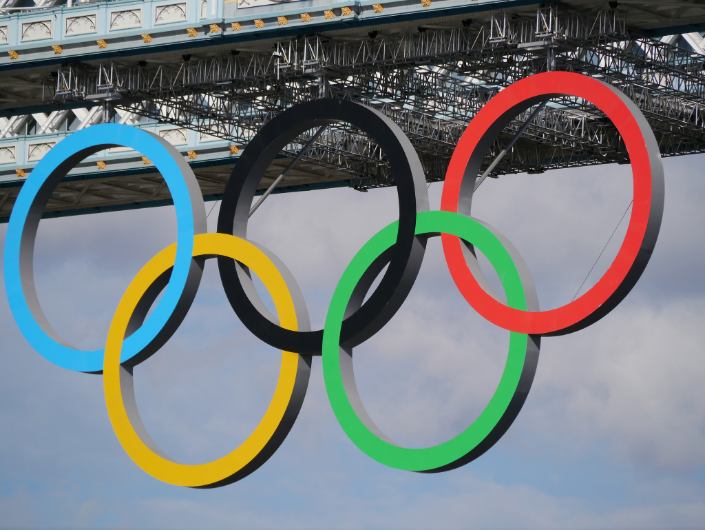 The Olympic rings hang from the Tower of London during the 2012 Summer Games.