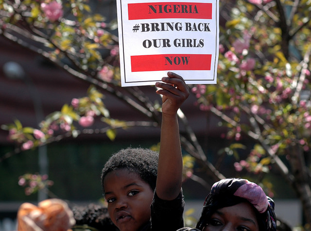 Hundreds of people gathered at Union Square in New York City on May 3 to demand the release of some 230 schoolgirls abducted by Boko Haram insurgents in Nigeria. (https://flic.kr/p/nvpC1J)