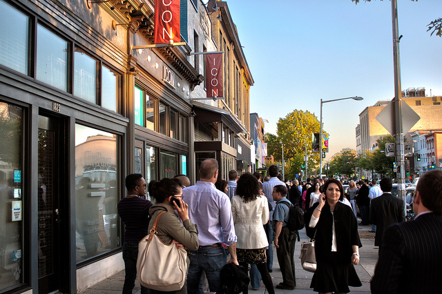 Customers wait outside restaurants on 14th Street in Washington, D.C., one of the city's emerging restaurant hubs.