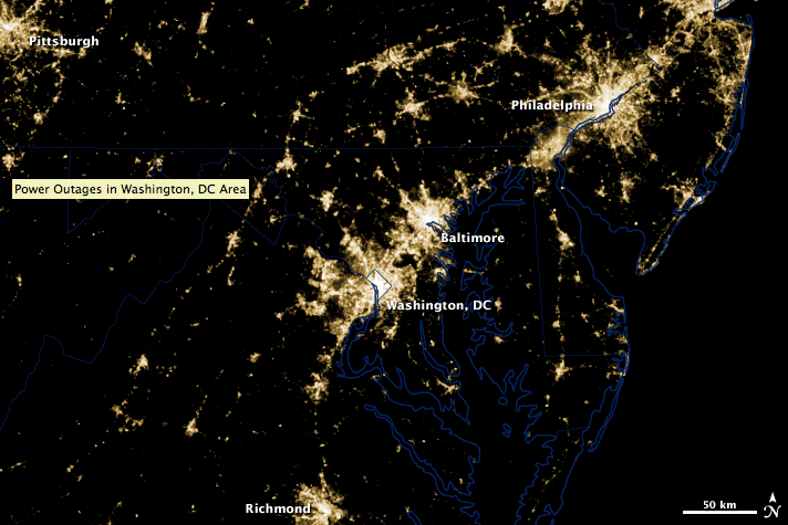 An image from the NASA-NOAA Suomi NPP satellite show the power outages over Washington, D.C. and Baltimore that occurred as a result of the derecho on Friday, June 29, 2012.