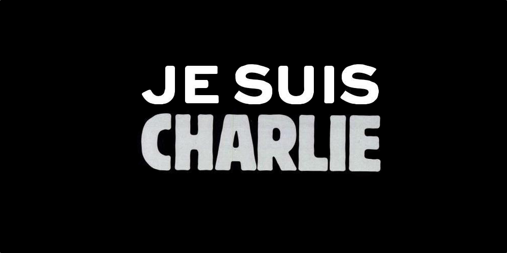 "Following the attack in Paris, the hashtag #JeSuisCharlie, or ""I am Charlie"" quickly made the rounds on social media, along with a black-gray-and-white image of the words."