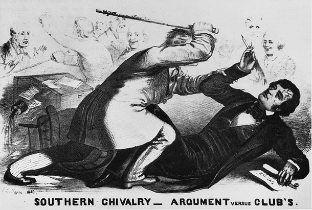 "A Northern cartoonist's portrayal of when South Carolina Rep. Preston Brooks entered the Senate chamber in May 1856 and <a href=""https://www.senate.gov/artandhistory/history/minute/The_Caning_of_Senator_Charles_Sumner.htm"">savagely caned</a> Massachusetts Sen. Charles Sumner, who had earlier given a contentious speech on whether Kansas should be admitted to the union as a slave state or a free state."