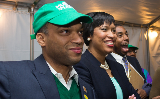 Council member-elect Brandon Todd with Mayor Muriel Bowser.