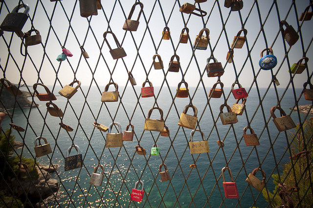 In the tradition of love locks, sweethearts will attach a padlock to a public place as a testament of their love. Pictured are love locks in Dubrovnik, Croatia.