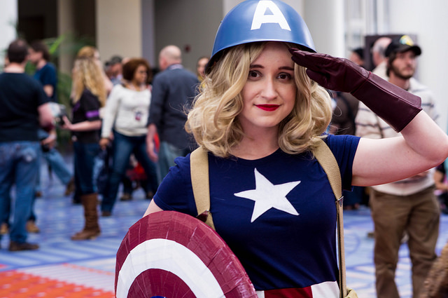 A woman attending AwesomeCon 2014 in cosplay.