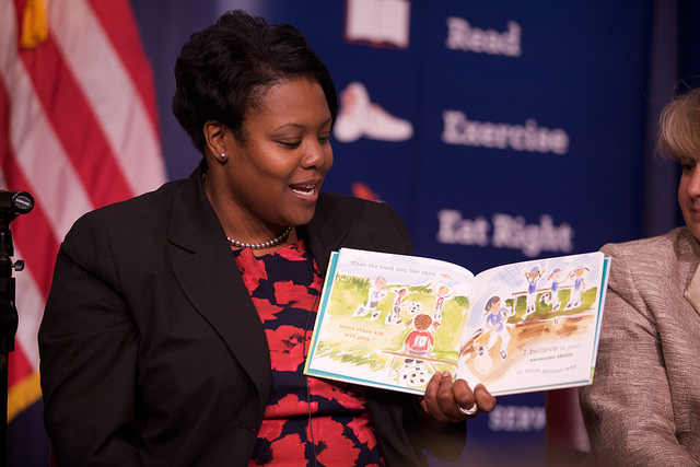 Chancellor Kaya Henderson at a Let's Read! Let's Move! event in 2012.
