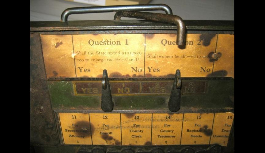 Close up on question that appeared on the test  sample voting machine from New York State circa mid-1800s