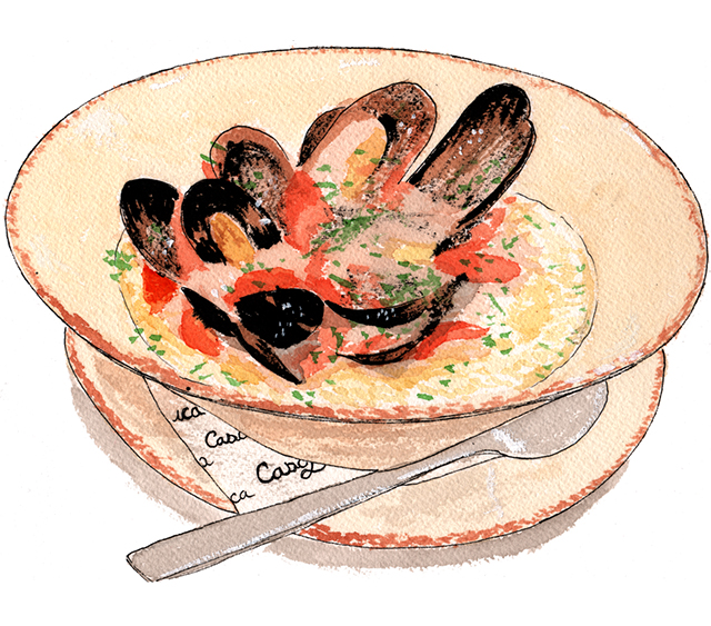 Josh Kramer's illustration of Casa Luca's Anson Mills white polenta features creamy polenta topped with Penn Cove mussels dressed in a light meatless tomato sauce.