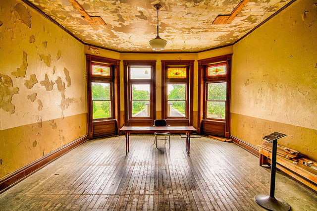"""The room used as the 'Parole Board' hearing room during the filming of """"Shawshank Redemption"""" at the Ohio State Reformatory in Mansfield, Ohio."""