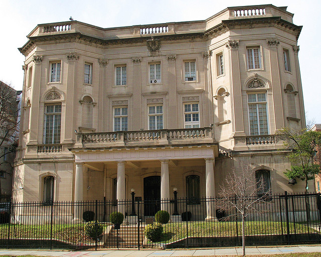 The Cuban Interests Section in the Adams Morgan neighborhood of Washington, D.C. It was originally constructed as an embassy in 1917 until the U.S. ended relations with Cuba in 1961.