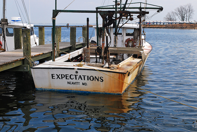 A fishing boat docked at Annapolis Maritime Museum in Maryland.