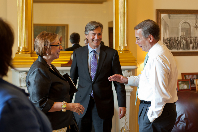 House Speaker John Boehner talks with with Canada's Ambassador to the United States, Gary Doer, and his staff in the U.S. Capitol in 2011.