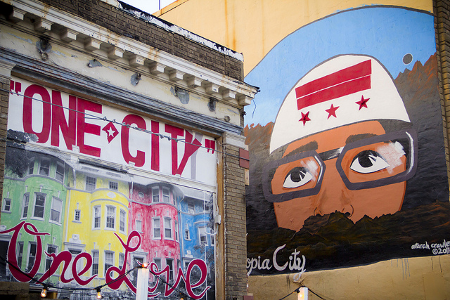 Mural at the Capital Fringe Festival's headquarters at 6th Street NW and New York Ave NW.