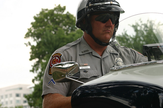 A Fairfax County police officer at the National Police Motorcycle Rodeo in 2007.