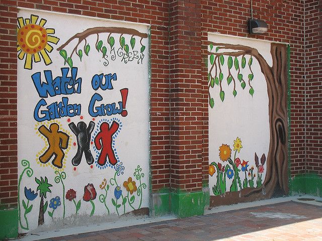 A mural at Samuel J. Green Charter School in New Orleans, La.