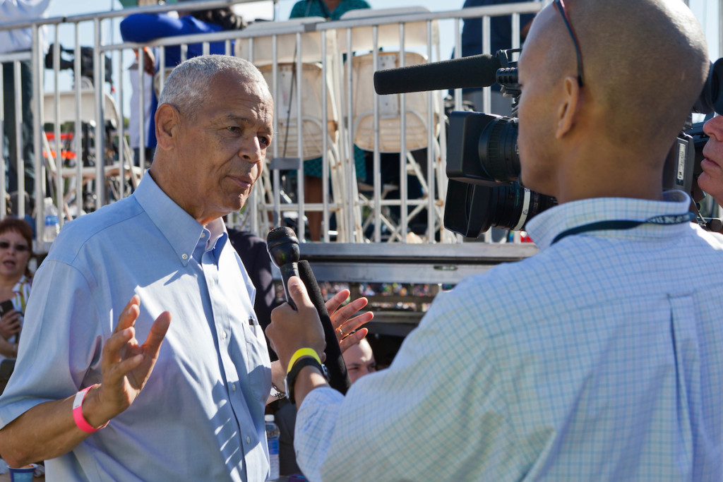 Civil Rights Activist Julian Bond being interviewed at the 50th Anniversary of the March on Washington on Saturday, August 24, 2013, in Washington, D.C.