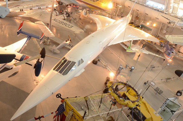 The first supersonic airliner to enter service, the Concorde flew thousands of passengers across the Atlantic at twice the speed of sound for over 25 years. Here it is at the Smithsonian's Udvar-Hazy Center in Chantilly, Va.