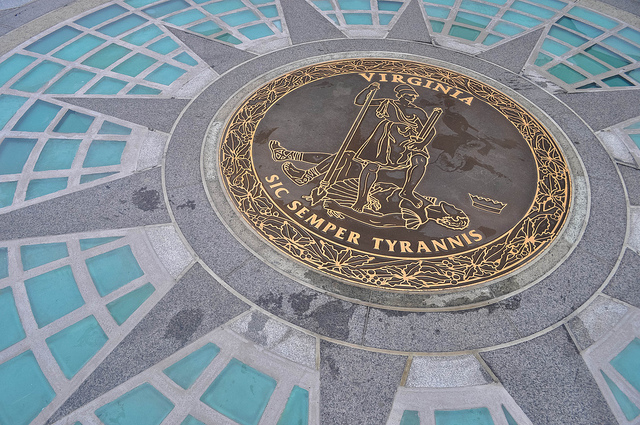 Virginia's state seal at its capital, Richmond.
