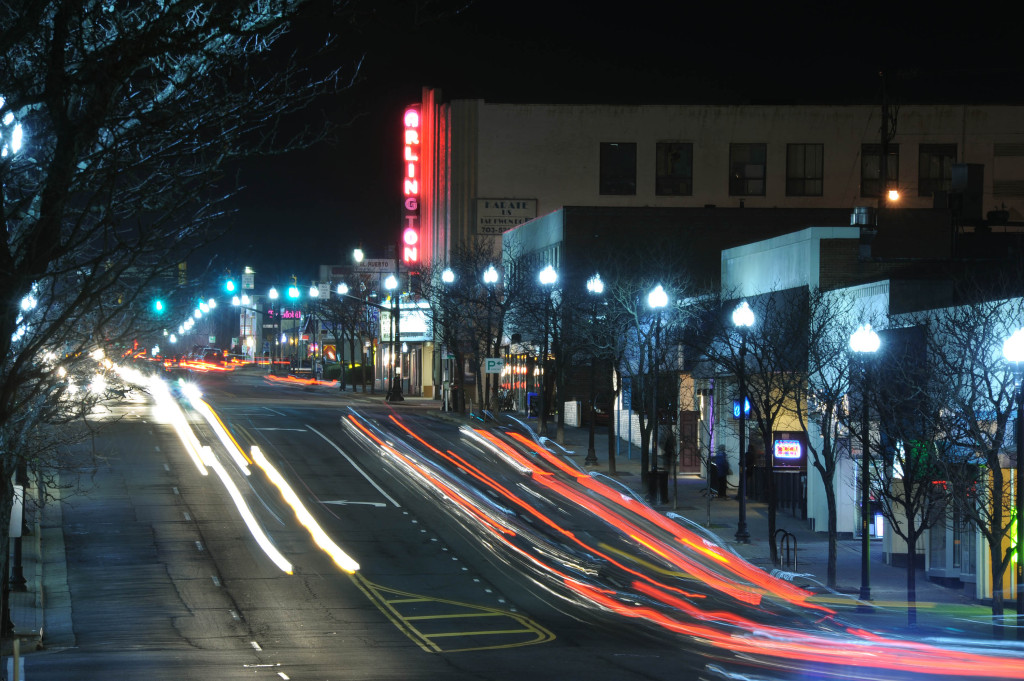 2600 and 2700 block of Columbia Pike at night.