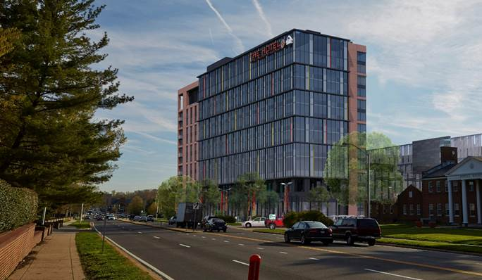 The exterior of a 297-room, four-diamond hotel to open in December 2016 in College Park.