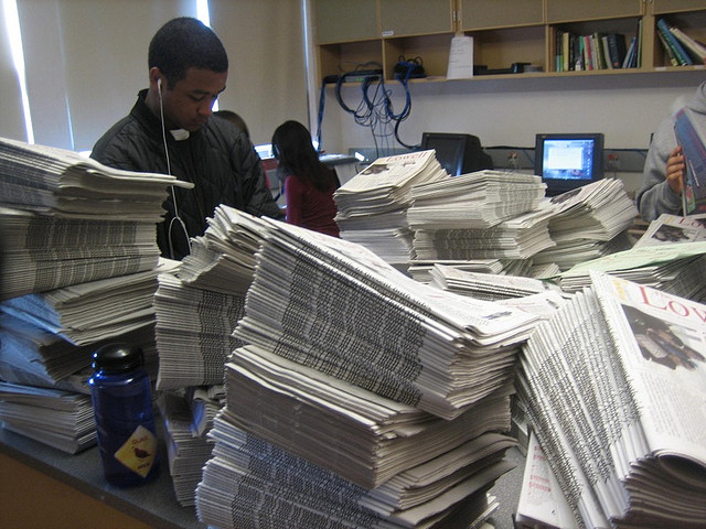 High school newspapers before distribution.