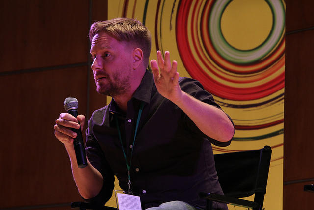 A storyteller performs at the Montclair Film Festival in 2015.
