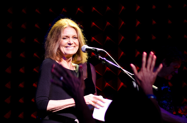 Gloria Steinem speaks at a concert at Joe's Pub in New York City.