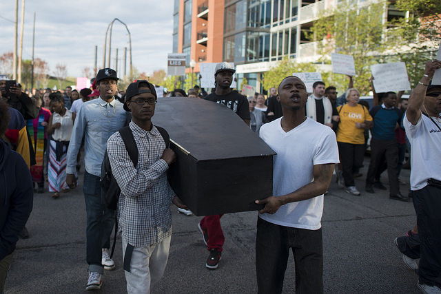 A protest in Minneapolis in support of the city of Baltimore after the death of Freddie Gray.