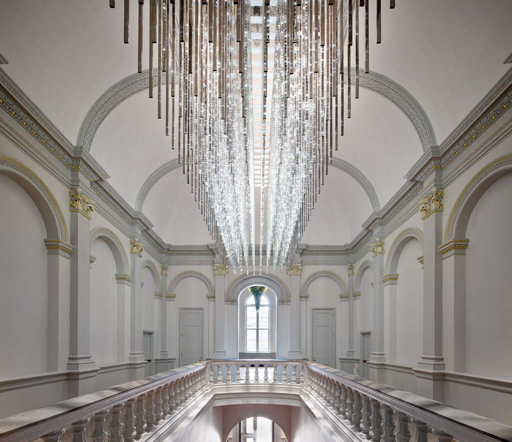 "American artist Leo Villareal designed this LED installation called ""Volume"" for the museum's opening exhibition. It hangs above the museum's Grand Stair."