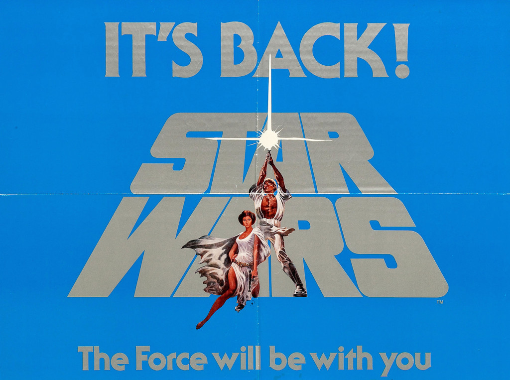 "A 1977 poster for the re-release of ""Star Wars."""