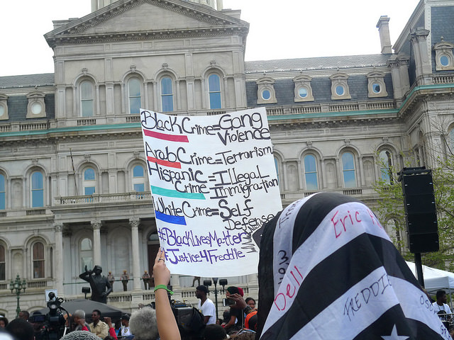Protestors outside Baltimore City Hall in May, 2015 when the state's attorney Marilyn Mosby announced that six Baltimore Police Officers would be prosecuted in the death of Freddie Gray.