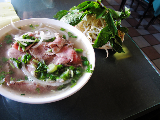 A steaming bowl of pho.