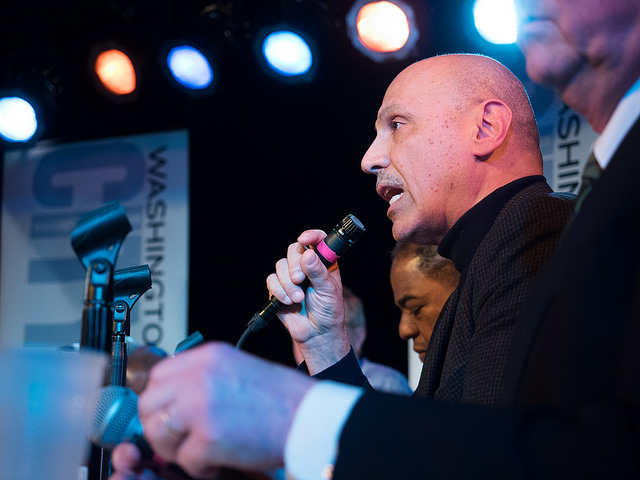 Andy Shallal as a mayoral candidate in 2014 at the  Washington City Paper mayoral forum at Black Cat in Washington, D.C.