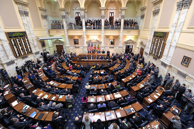 Maryland Governor Larry Hogan delivers the State of the State address at the State House in Annapolis, Md.