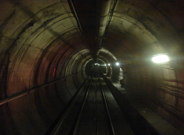 The Red Line tunnel between Friendship Heights and Tenleytown stations.