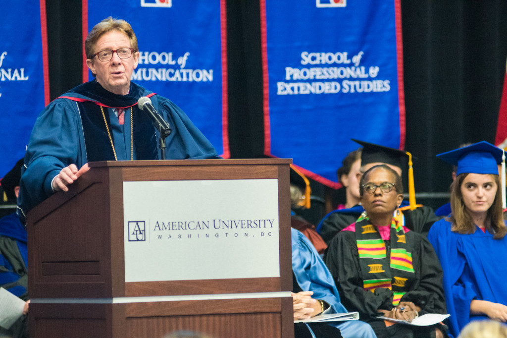 American University President Neil Kerwin at a convocation ceremony.