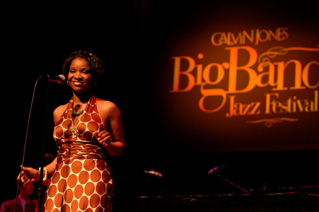 UDC student Krislynn Perry singing at the Calvin Jones Big Band Jazz Festival in 2006.