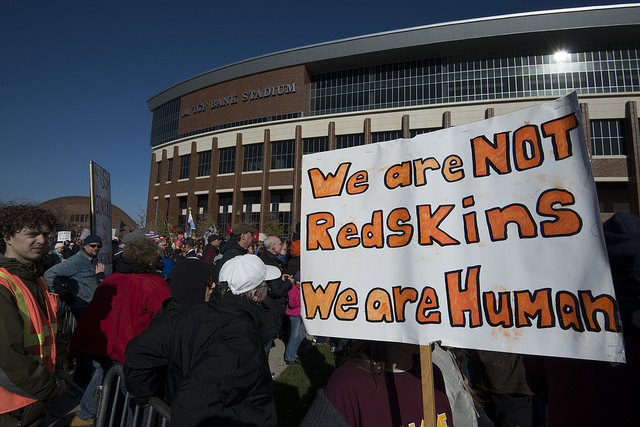 A protest against Washington D.C.'s football team name in 2014.
