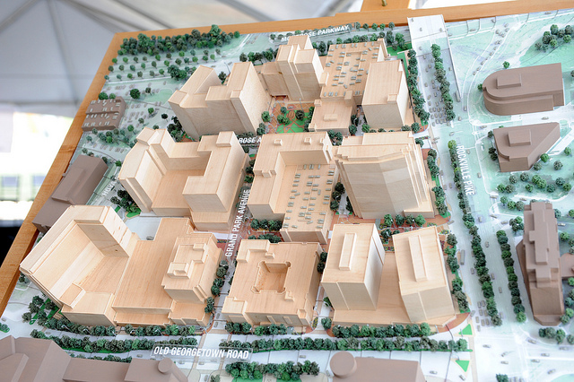 A model from the Pike & Rose groundbreaking in Rockville, Maryland, in 2012.