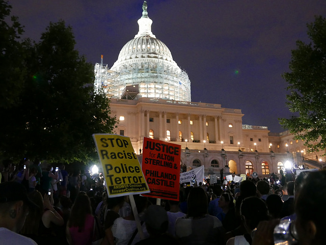 Protestors marched from the White House to the U.S. Capitol in response to ongoing reports of police shootings of black men.