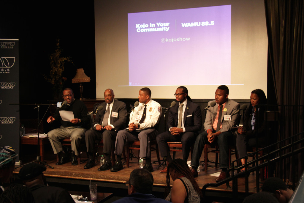 "Kojo Nnamdi and panelists at a ""Kojo In Your Community"" event in Hyattsville in 2015."