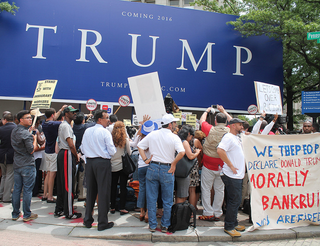 A Washington, D.C. protest against Donald Trump and his planned hotel in 2015.